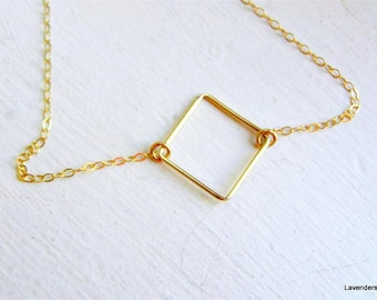 Square Necklace , Gold Necklace , 14k Gold fill ,  Geometric Jewelry , geometric , Modern Minimal Necklace
