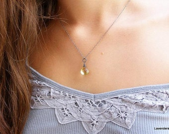 Lemon Quartz Necklace , Oxidized Sterling Silver Necklace , Wire Wrapped , Gemstone Necklace