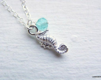Silver Horse Fish Necklace , sterling silver necklace  , apatite , Modern Minimalist , Everyday Jewelry , Mermaid jewelry