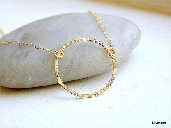 Gold Circle Necklace , Eternal Necklace , Large circle Karma necklace , Gold Fill , Modern Minimalist Jewelry