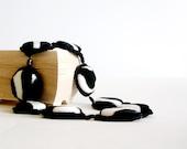 Zebra Statement  Necklace Animalier  Black White Crochet Jewelry