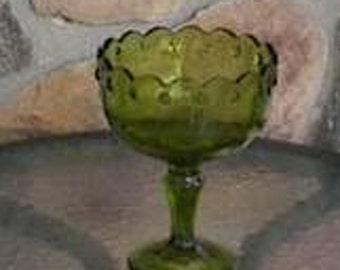 Avocado Indiana Glass Teardrop  Compote