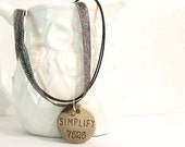 Simplify Inspirational Necklace Word Jewelry Silver Stamped Positive Motivation Jewelry with Numbers on a Ribbon Necklace