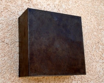 "Square- Patinaed Steel 9"" x 9"" x 4"" Light Sconce"