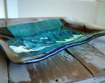 Fused Glass Ripples and Waves Plate-Sandstone and Turquoise