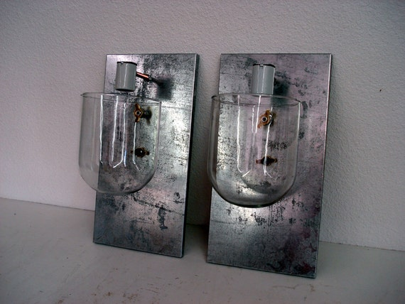 Steel and Glass Dome Pair of Sconces
