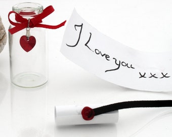 Personalized valentines custom keepsake glass vial with a hand written wax sealed scroll and Swarovski crystal heart- Great anniversary gift