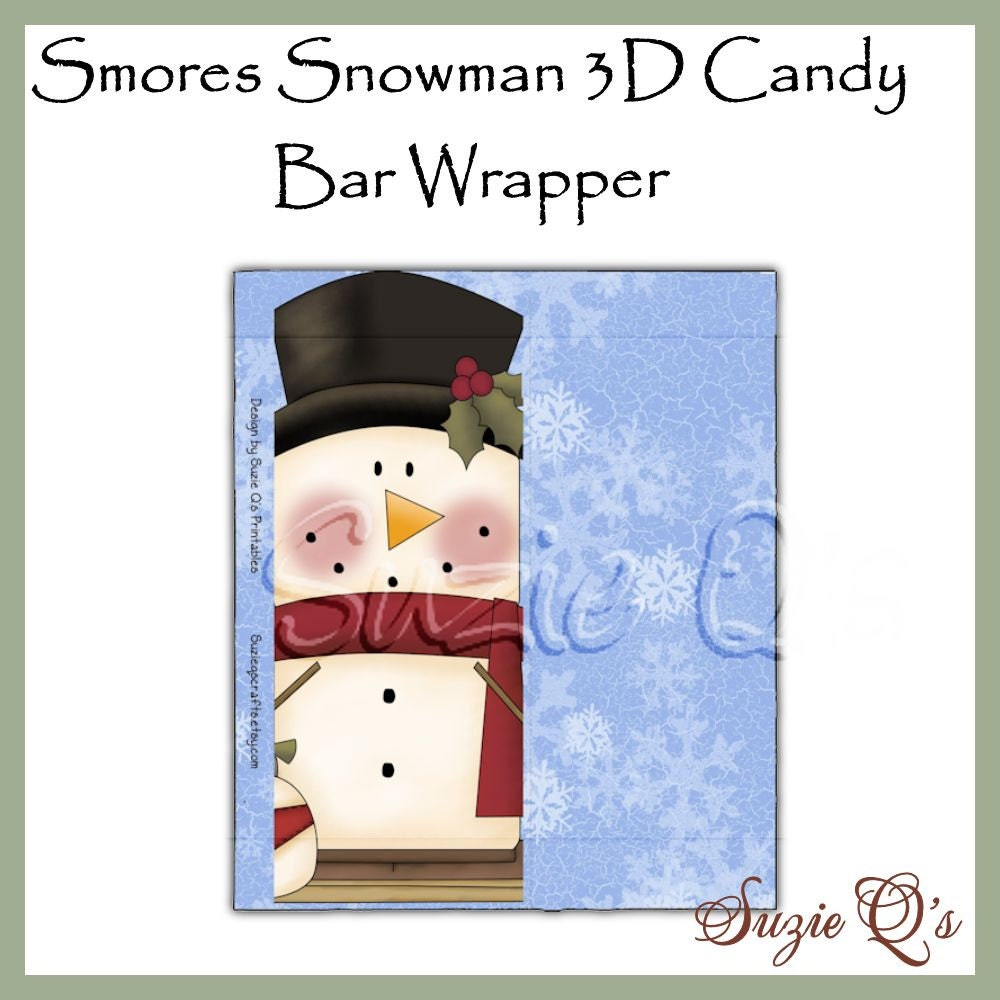 Smores Snowman 3D Candy Bar Wrapper Digital by SuzieQsCrafts