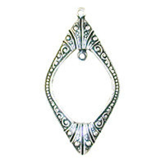 Private Listing for Little Amber- Art Deco Window Pendant- Antique Silver