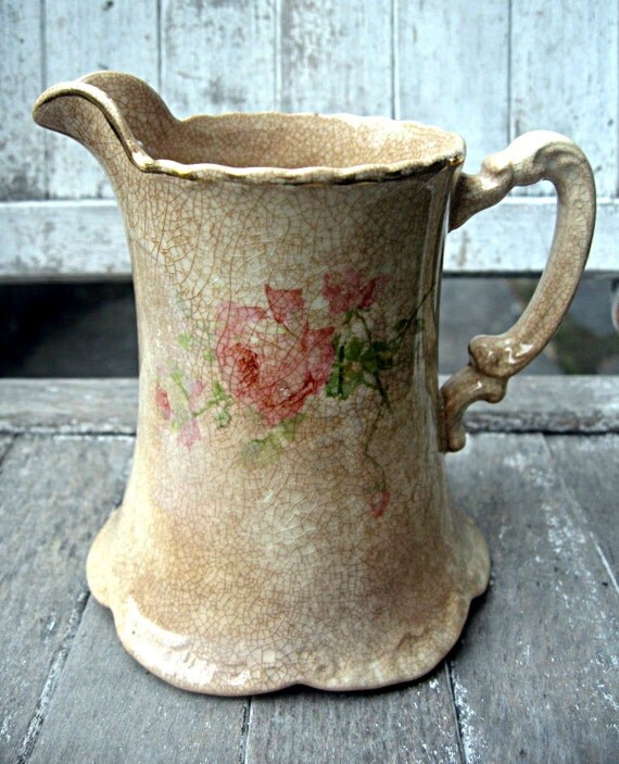 Reserved for Nancy.....Vintage roses pitcher, Homer Laughlin, very old with crazing, lovely collectible