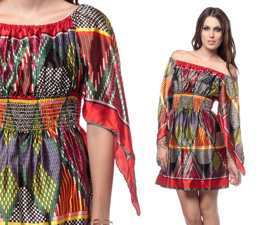70s Boho Scarf Dress Angel Sleeve Mini 1970s Hippie Handkerchief Bell Sleeve Geometric Red Vintage Bohemian Dress Small Medium Large S M L