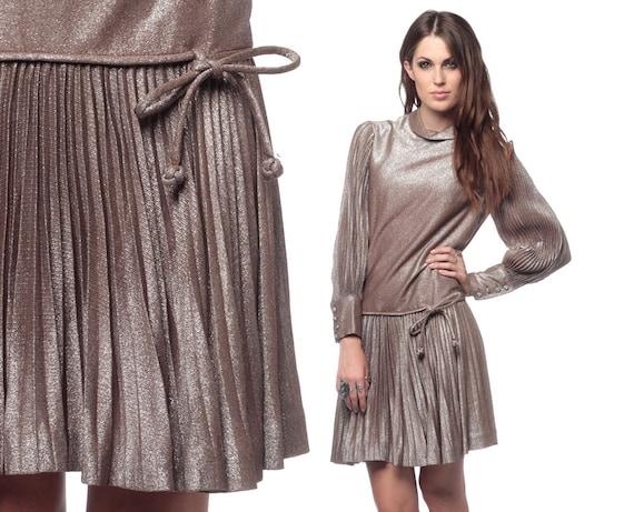 60s Party Dress Mini Metallic Pleated 1960s Cocktail Mod Drop Waist Bow Long Sleeve Bronze Silver Vintage Evening Dress Small Medium S M