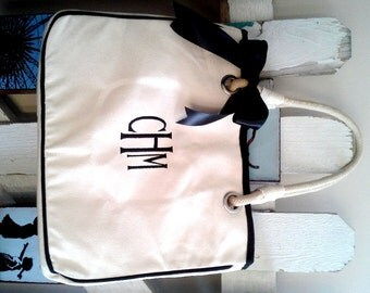 Personalized Gift Tote Bag, Monogrammed Canvas Tote, Personalized Bag