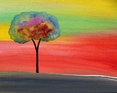 Original Art Handpainted Tree Abstract Acrylic 5x7in Canvas Panel Board Beautiful Colors