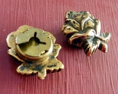Two Vintage Brass Rose  Button  Covers BU13