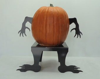Pumpkin JackOLantern Monster Metal Art Hands - Free USA Shipping