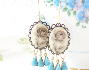 Everythings Turning Up Roses - Vintage Rose and Jewel Earrings - Whimsical - Bridal