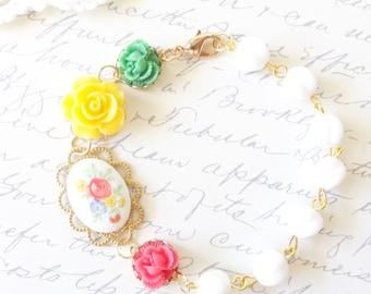 Gold Beaded Flower Bracelet - Whimsy - Whimsical - Romance - Bridal