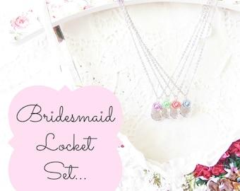 Sterling Silver Plated Locket Set - Bridesmaid Locket Necklace - Round Locket - Whimsy - Bridal - Flower