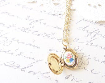 Tiny Gold Vintage Locket - Oval Locket - Hidden Treasure - Treasure Inside - Floral Cameo - Limoges