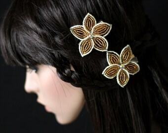 Stella  -  Hair Clip - French Beaded Flower