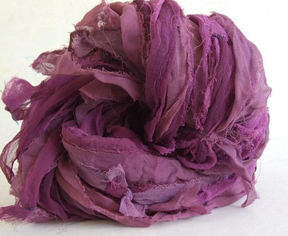 Hand Dyed Recycled Silk Blend Chiffon Ribbon - Purples,  10 yds