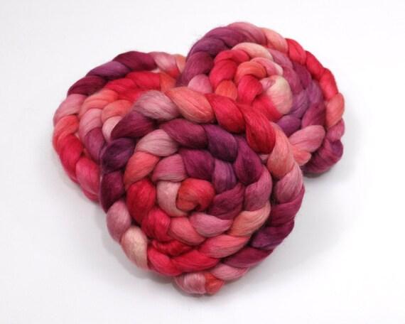 Alpaca/ Silk/ Merino Wool Roving - Handpainted Spinning Fiber