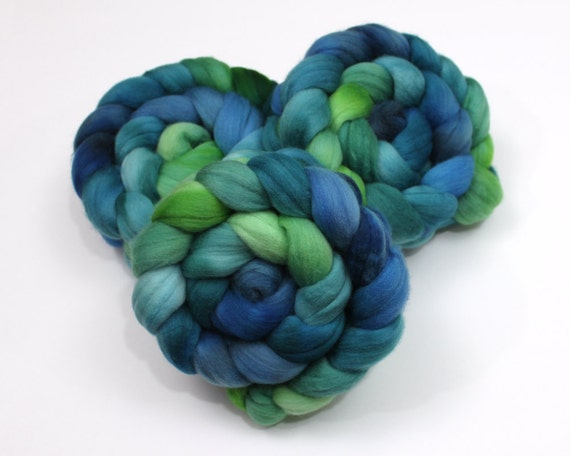 Polwarth Wool Roving - Hand Painted Roving for Spinning or Felting