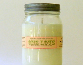 ONE LOVE / Hand Poured Soy Candle in Mason Jar / Homemade Candles