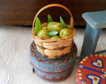 1:12 Scale (Dollhouse) Granny Smith Green Apples in a Tiny Wood Splint Basket - Indoor Fairy Garden