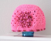 Girls Hot Pink Multi color Flower Child Adult Hat Cap Toboggan Crochet Crocheted Handmade Flowered Beanie
