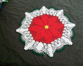 14 Inch Round Xmas Holiday Christmas Poinsettia Flower Crochet Doily Crocheted Topper Handmade New