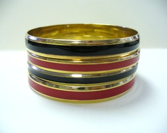 Vintage Set of 4 Gold-tone Red and Black Bangles DEADSTOCK