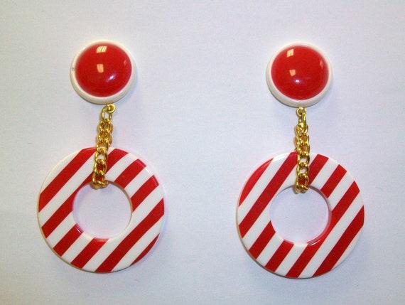 Vintage Red and White Plastic Mod Nautical Hoop Earrings DEADSTOCK