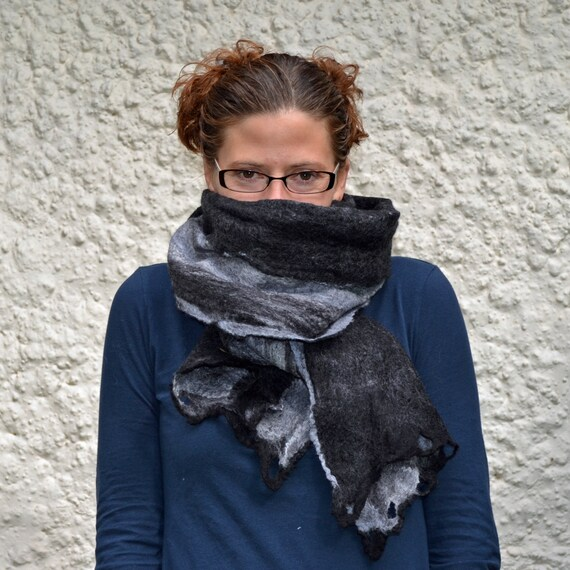 Stormy Gray Striped Merino Wool Felt Scarf