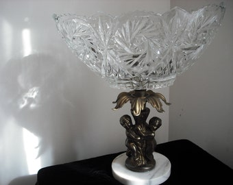 Vintage Compote Hollywood Regency  Marble Cut Glass
