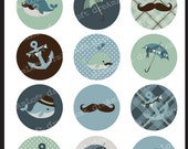 Whale Tale Collection 2 Inch Round Circles for stickers, coasters, tags, pendants, cupcake toppers, pins and more