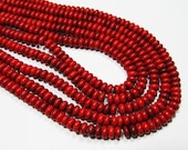 "7.5"" Gemstone STRAND - Reconstituted Magnesite Beads - 3x6mm Rondelles - Red (7.5"" strand - 55 beads) - str160"