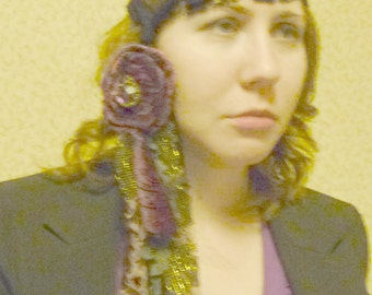 Bohemian Ameythst Headband Madam Fate Fortune Teller Lavender Velvet Gypsy Lace Halloween Women