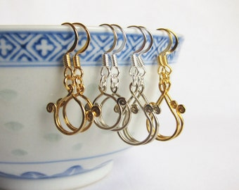 Stitch marker keeper earrings for ring and split markers available in circle or teardrop styles - one pair