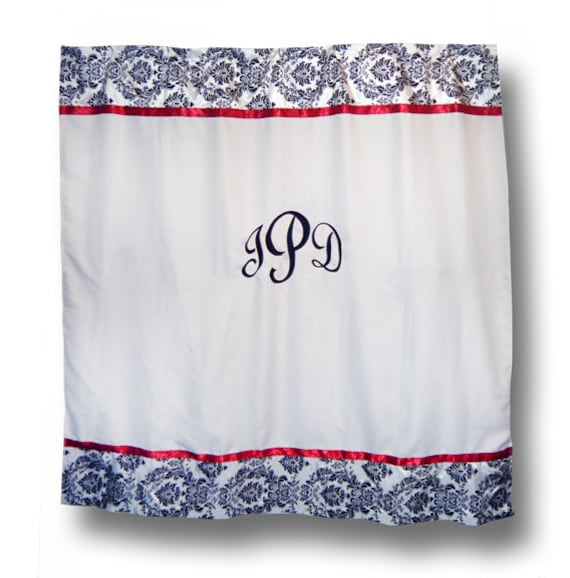 monogrammed damask shower curtain by monogramsetcnc on etsy