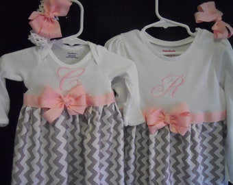 Boutique Girls Infant Gown and Dress set soo Pretty Great for Coming Home Outfit for Sister and Baby