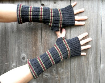 Upcycled Women Wool Arm Warmers Fingerless Gloves Wrist Warmers Black With Stripes