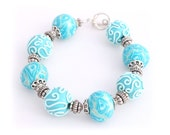 Turquoise Bead Bracelet - Rose Flower Bracelet - Polymer Clay Jewelry for Women - Womens Bracelet - Gift for Her - Mothers Day Gift Ideas