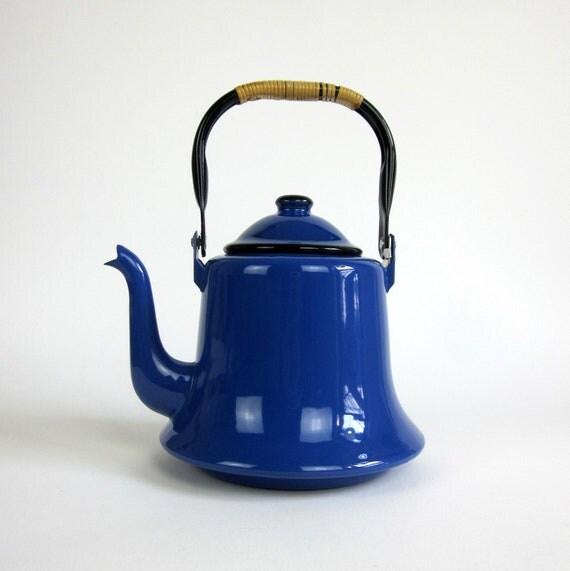 Mid Century Japanese Tea Kettle / Royal Blue Enamel