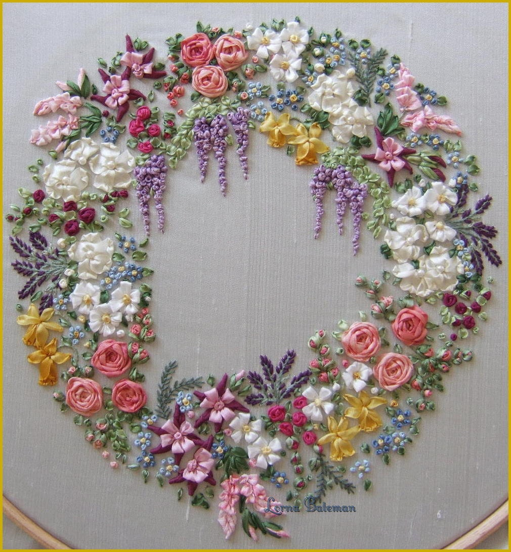Pdf garland of silk ribbon flowers pattern for
