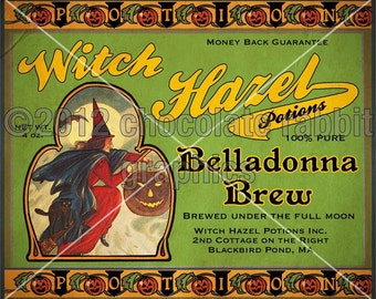 Halloween Witch Potion Label Digital Printable Tag Instant Digital Download Image Collage Scrapbooking Sheet Belladonna Brew