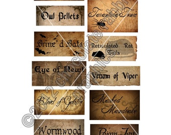 Vintage Halloween Witch Potion Ingredients Labels Digital Download Collage Sheet Image Graphic - INSTANT DOWNLOAD