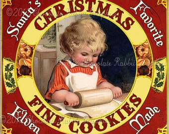 Christmas Cookies Vintage Label Tag Digital Download Printable Image Collage Scrapbook Clip Art Sheet
