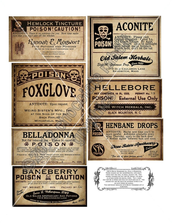 Geeky image inside free printable halloween poison bottle labels